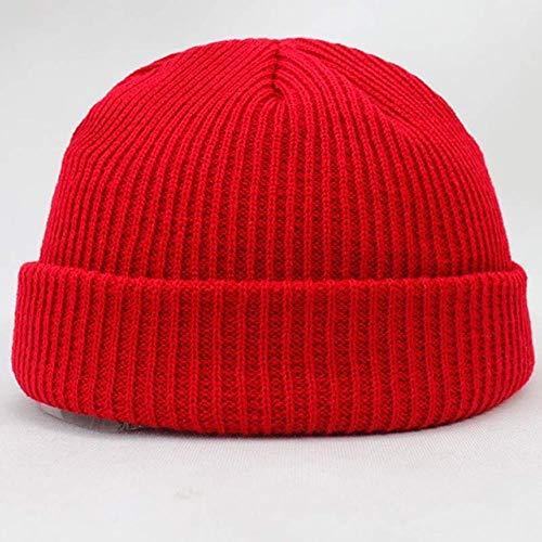 XCLWL herenmuts, solide afwerking, warm, kort design, voor dames en heren, muts moda hip-hop scullies rood