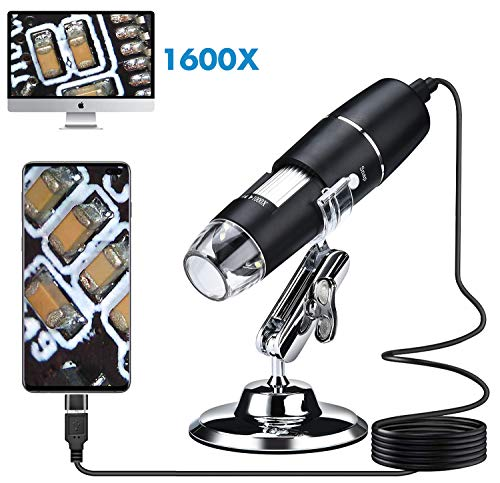 yohoho USB Digital 1600x Microscope Industrial Grade HD Magnification,Endoscopes Support USB2.0 and OTG(Micro USB&Type-C) with Metal Stand,8 LED Compatible Android Mac WindowsXP/7/8/10 and Linux