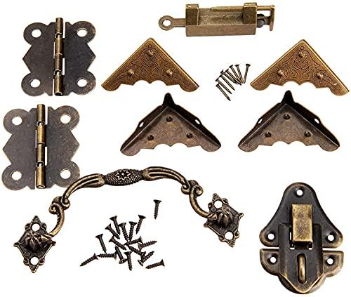 9pcs / set muebles hardware chino latón hardware antiguo caja de madera laptch hasp y antiguo bloqueo de la hebilla bloquear los pósticos con tornillos y tirador de bisagras y protector de esquina
