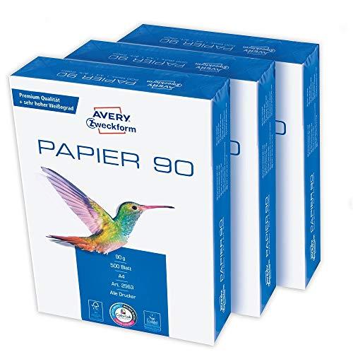 Avery Zweckform 2563 Drucker-/Kopierpapier (1.500 Blatt, 90 g/m², DIN A4 Papier, hochweiß, für alle Drucker) 1 Box mit 3 Pack