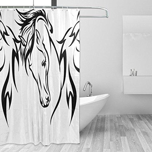 Jstel Pferde-Duschvorhang, schimmelresistent & wasserdicht, Polyestergewebe, 182,9 x 182,9 cm, extra lang, dekorativer Duschvorhang mit 12 Haken