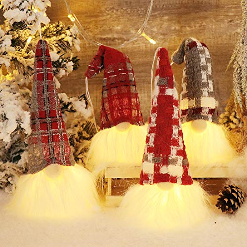 GMOEGEFT Christmas Gnomes with Light Set of 4 Plush Swedish Nordic Tomte Scandinavian Nisse Figurine Elf Holiday Party Home Table Decorations Gift (Wine Red, White & Grey)