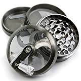 Chromium Crusher 2.5 Inch 4 Piece Tobacco Spice Herb Grinder - Pick Your Color (Gunmetal Zinc w/Mill Handle)