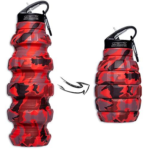 Raigeki Fitness Faltbare Trinkflasche Granate 580ml, BPA-Frei, Wasserflasche auslaufsicher, aus Silikon lebensmittelecht, Sportflasche für Fahrrad, Sport, Festival mit Karabinerhaken + Trainingspläne