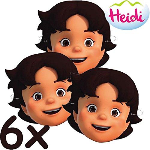 6 Masken * HEIDI und die BERGE * für Kinderparty und Kindergeburtstag // CONO // Kinder Mottoparty Kinderparty Verkleidung Hütchen Geissenpeter Alpen Alm Almöhi Klara