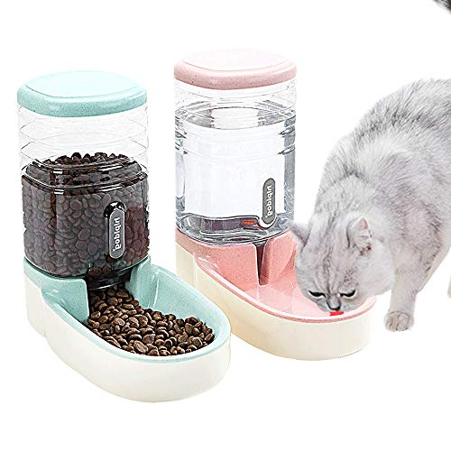 Fairy Tale Automatic Pet Feeder Small&Medium Pets Automatic Food Feeder and Waterer Set 3.8L, Travel Supply Feeder and Water Dispenser for Dogs Cats Pets Animals(Pink and Green)