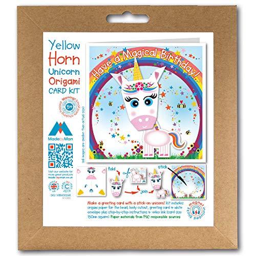 Kit de tarjetas de felicitación de origami, diseño de cuerno amarillo, unicornio rosa, imán para nevera, arcoíris y estrellas que tienen un cumpleaños mágico. Cuadrado de 150 mm
