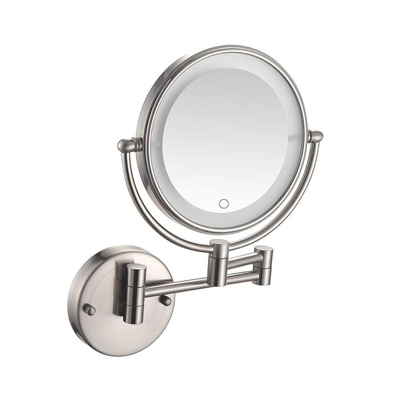 静けさアレンジ最初ウォールマウントLED照明付きメイクアップミラー3X拡大化粧鏡ミラータッチスクリーン360度;浴室8インチの英国のプラグのための旋回装置の拡張可能な両面の虚栄心ミラー
