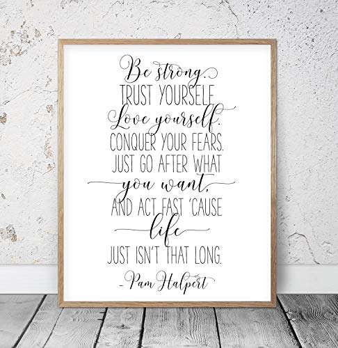 456Yedda Be Strong Trust Yourself Love Yourself Pam The Office Quote Print Michael Scott Quotes The Office Wall Art Dwight Schrute Quote Wood Pallet Design Wall Art Sign Plaque with Frame Wooden Sign
