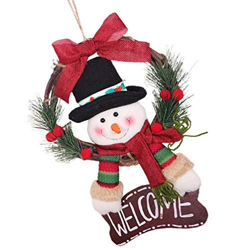 jojofuny Guirnalda de Vid de Ratán de Navidad Decoraciones Guirnalda de Rama de Navidad con Felpa Muñecos de...