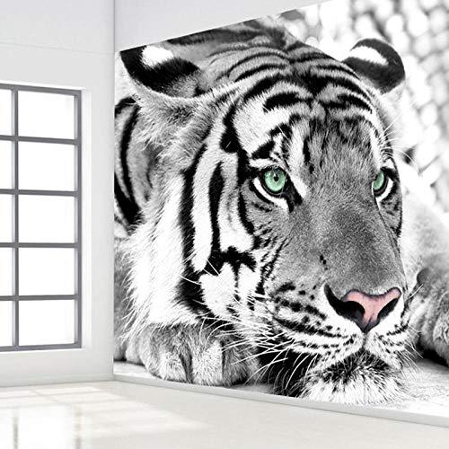 Fotobehang 3D Stereo Zwart en Wit Tijger Fotobehang Wandpapier voor Woonkamer Tv Achtergrond Huisdecoratie 3D Kamer Wallpaper-200Cm (W) X 140Cm (H)