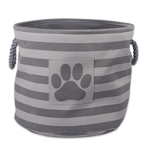 Bone Dry Stripes with Paw Patch Collapsible Polyester Pet Storage Bin, Round Small-12 x 12 x 9, Gray