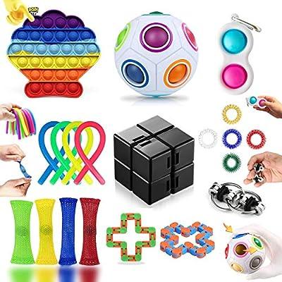 20 Piezas Fidget Toy Pack Barato, Pack Fidget Toys con Simple Dimple para Antiestres Niños, Fidget Toys Set Juguetes Antiestres con Stress Ball y Infinity Cube, Regalos para Niños, Antiestres Adultos de 2104JJ0005J