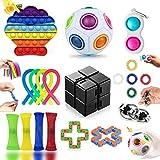 20 Piezas Fidget Toy Pack Barato, Pack Fidget Toys con Simple Dimple para Antiestres Niños, Fidget Toys Set Juguetes Antiestres con Stress Ball y Infinity Cube, Regalos para Niños, Antiestres Adultos