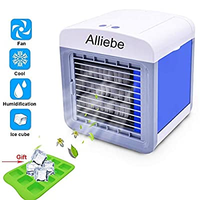 Alliebe Personal Air Cooler 6.5-inch Portable Air Conditioner Fan Small Space Cooler Personal USB Desktop Fan Compact Evaporative Cooler Air Humidifier