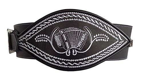 Alpenlife Ranzengürtel Trachtengürtel Ziehharmonika-Akkordeon, Federkiel-Optik, schwarz, Gr. 95cm-125cm (125 cm)