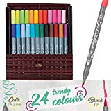Online Calli.Brush  24 Stück Double-Tip Pens mit Kalligrafie-Spitze und Pinselspitze, Intensive Farben, Brushpen in Geschenkverpackung