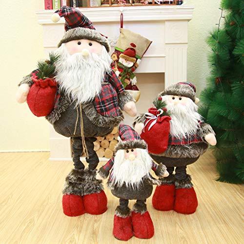 Kerstmis Oude Man Plaid Telescopische staande pop pop Kerstmis Hotel Winkelcentrum Raamdecoratie Decoratie