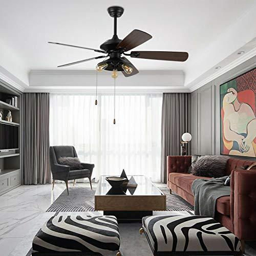 Ventilador de techo de 52 pulgadas con 5 aspas, retro, ventiladores de techo con iluminación y mando a distancia, función de avance y retroceso
