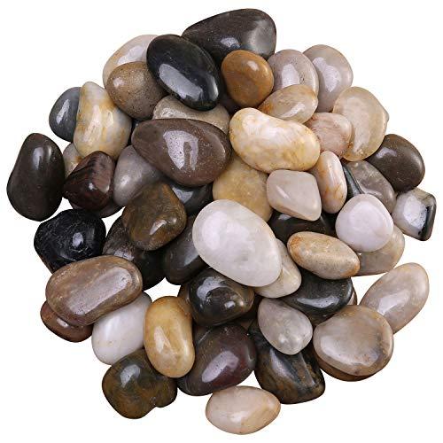 FANTIAN 2 lb Natural Decorative Polished Mixed Color Pebbles, Aquarium Gravel, River Rocks...
