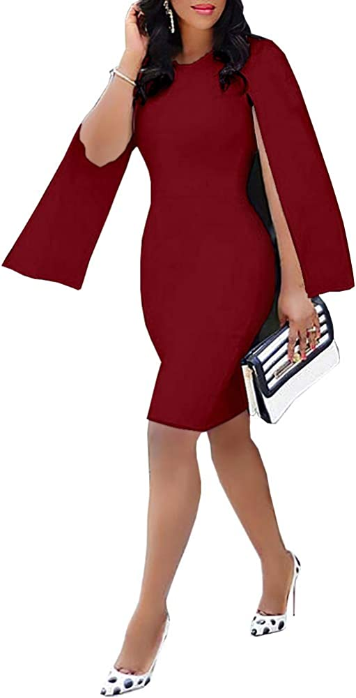nuoshang Women's Round Neck Cloak Sleeve Slim Pencil Bodycon Dress