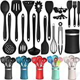 Silicone Cooking Utensil Kitchen Utensil Set, 24 Pcs Non-stick Cooking Utensils Spatula Set with Holder by AIKKIL, Heat Resistant Kitchen Gadgets Tools Set for Cookware(Black)
