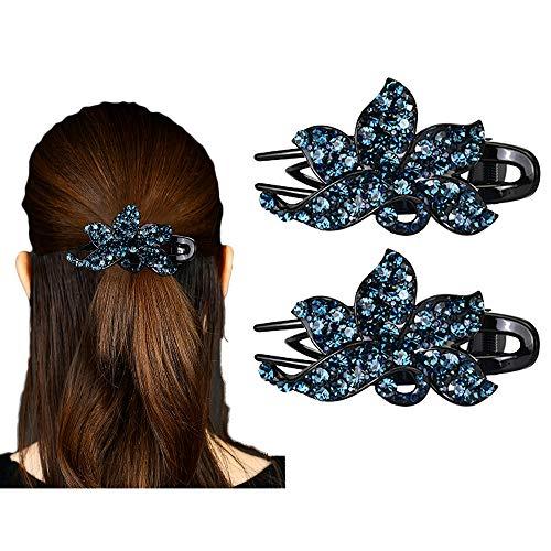 Tfly 2PCS Rhinestone Flower Hair Clip,Women Hair Claw Hair Crystal Rhinestone Hair Clip,Charming Hairstyle Hairpin, Elegant Hair Ornament (C)