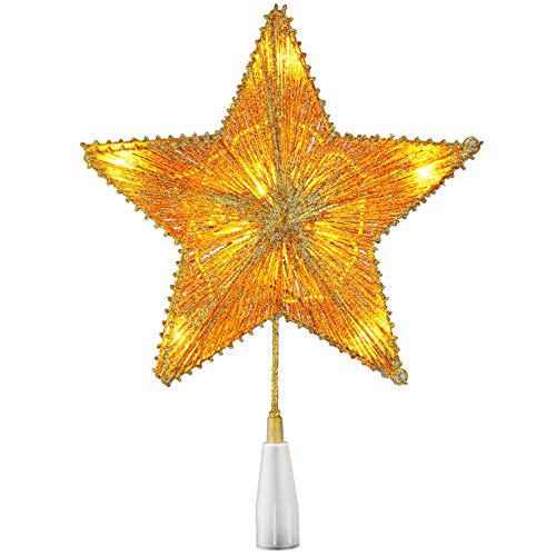 GAGALIFE Christmas Decorations, Gold Christmas Star Tree Topper with 10 Clear Lights, UL Listd, 3D Glitter Hollow Night Light Topper for Christmas Tree Decoration, for Kids - Gold