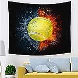 KHKJ Baloncesto Fuego Tapiz Colgante de Pared béisbol fútbol impresión Tapiz Mantas Sala de Estar Bohemia tapices Hippie A6 200x150cm