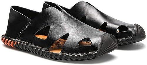 HhGold Mens Leather Sandals Closed Mode SchWeißabsorbierende Breathable Cool Beach Schuhe Sommer Outdoor Wandern und Wandern Anti Collision Casual Sandalen (Farbe   EIN, Größe   40)