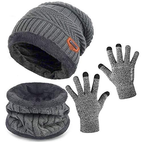BDSMAGE Wintermütze Strickmütze Warme Mütze Kreis Schal Set und Warm Strick Handschuhe mit Fleecefutter für Damen und Herren