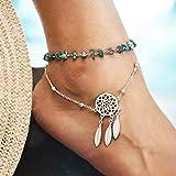 Yean Tobillera con diseño de plumas, diseño de atrapasueños, color turquesa, para mujeres y...