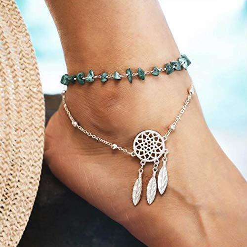 Yean Tobillera con diseño de plumas, diseño de atrapasueños, color turquesa, para mujeres y niñas