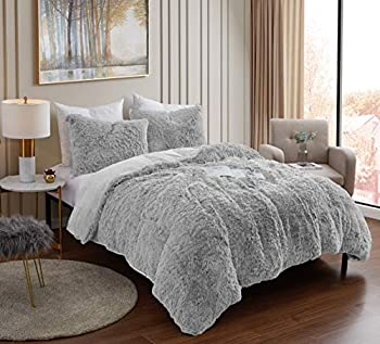 Plush Shaggy Comforter Set Ultra Soft Luxurious Faux Fur Decorative Fluffy Crystal Velvet Bedding with 2 Shams King Silver