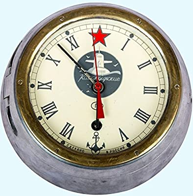Antiques World Vintage USSR Boat Ship Russian Old Cabin Clock Submarine Navy with Key AWUSAHB 053