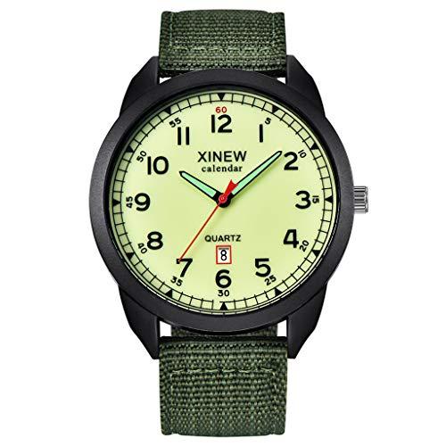 Ausverkauf Quarzuhr Herren Armbanduhren, XINEW Nylonarmband Simple Calendar Luminous Dial Outdoor Herren Quarzuhr EvansampD