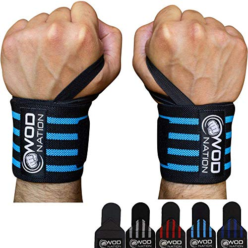 "WOD Nation Wrist Wraps Weightlifting for Men & Women - Weight Lifting Wrist Wrap Set of 2 (12"" or 18"") (12 Inch - Black/Lt Blue)"