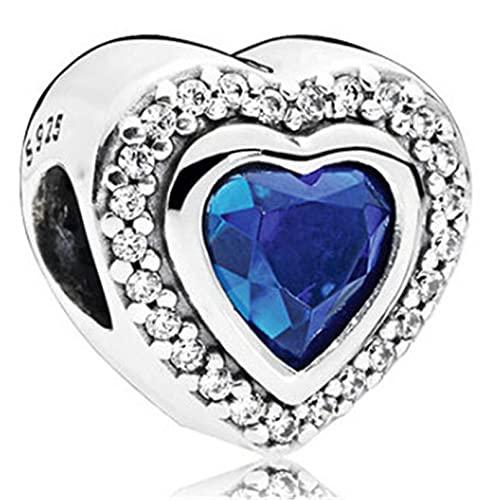 ARONTIME Pulsera de cuentas de plata de ley 925, cuentas espaciadoras de agujero de corazón azul para abalorios hechos a mano collar pulseras accesorios (plata 4925)