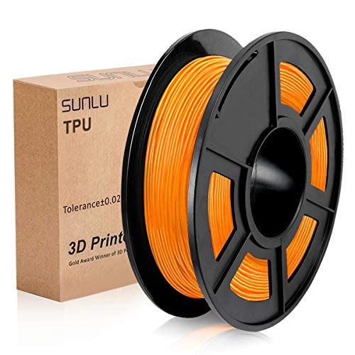 SUNLU 3D Printer Filament TPU,TPU Filament 1.75 mm,Low Odor Dimensional Accuracy +/- 0.02 mm 3D Printing Filament,1.1LBS (0.5KG) Spool,Orange TPU