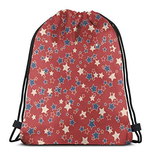 Bingyingne American Patriotic Blue Red Stars Zaino con coulisse Sacca da palestra Borsa a tracolla Cinch Bag