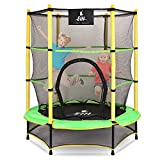"""EIH Kids Trampoline, 55"""" Small Trampoline with Safety Enclosure Net & Safety Pad,Heavy Duty Frame Round Trampoline Jump Recreational Trampoline for Kid Indoor Outdoor (Green+Yellow)"""