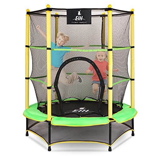 "EIH Kids Trampoline,55"" Small Trampoline with Safety Enclosure Net & Safety Pad,Heavy Duty Frame Round Trampoline Jump Recreational Trampoline..."