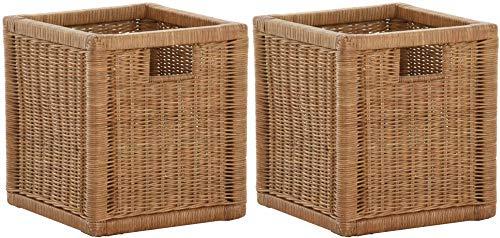 korb.outlet Stabiles Set / 2 Regalkorb mit Holzrahmen Schubfach aus echtem Rattan/Schübe Box zur Aufbewahrung Regalkorb Schrankkorb Griff (Braun - Hell, Set 28x29x30)