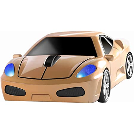 Wireless Mouse 2.4GHz Cool Sport Car Shape Wireless Mouse Optical Cordless Mice with USB Receiver for PC Laptop Computer 1600 DPI 3 Buttons Gold