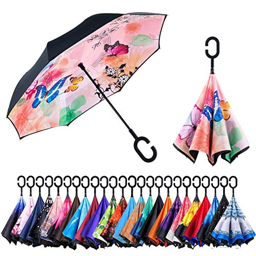 Newsight Reverse Umbrella, Double Layer Inverted Umbrella Upside Down, Self Stand, C Shape Handle, Inverse Inside Out Folding for Car, Windproof, Waterproof, Sun Protective (Butterflies)