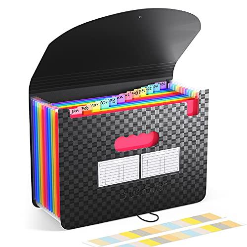 Accordian File Organizer 12 Pockets - Expanding File Folder Expandable Cover,Portable Filing Box,Desktop Accordion Folders,Plastic Colored Paper Document Paperwork Receipt Organizer(A4/Letter Size)