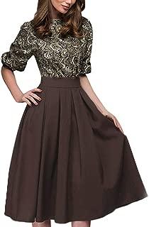 beautyjourney Vestido de Oficina de Trabajo de Manga 1/2 Casual para Mujer Túnica Elegante Estampado Vintage Vestidos hasta la Rodilla de Cintura Alta Falda Plisada