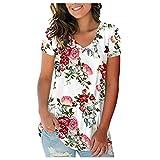 iHENGH Blouse Femme T-Shirts,Floraux Basiques Manches Courtes Et Col en pour Top Coat Femmes Rouge M