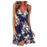 NAQUSHA Vestido de playa suelto para mujer, estilo casual, sin mangas, con cuello en V, bohemio, floral, vestido de fiesta