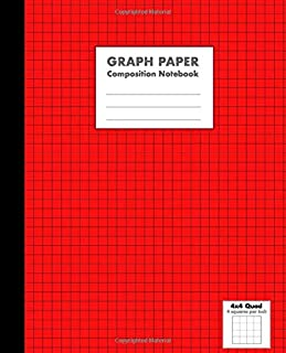 Graph Paper Composition Notebook: Red - 4x4 Quad Ruled (4 Squares per Inch), 100 Pages, Sheets - Use for Math, Science, Art, Writing and Ideas (7.5 x 9.25 in)